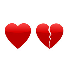 Two red hearts whole and broken vector