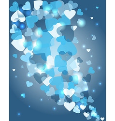 Valentines day heart shape bokeh light love card vector image