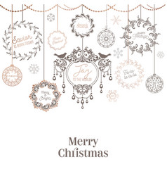 vintage christmas wreath design winter holiday vector image