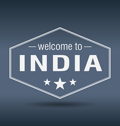 Welcome to India hexagonal white vintage label vector