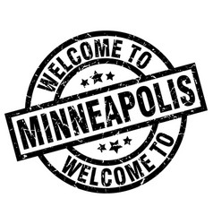 Welcome to minneapolis black stamp vector