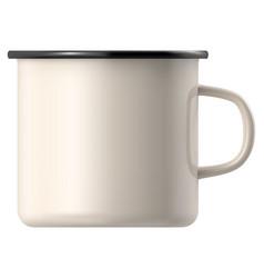 White enamel mug isolated on background vector