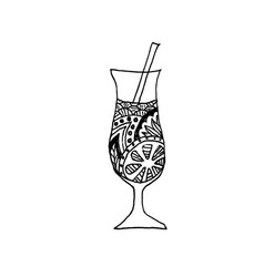 Zentangle patterned cocktail on white background vector