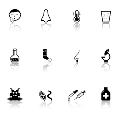 sick icons set with mirror reflection silhouette vector image vector image