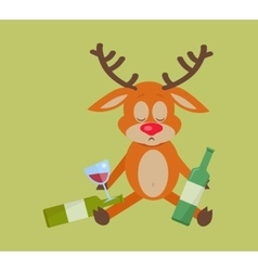 Deer with bottle of wine isolated on green vector
