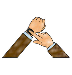 drawing hands man business touch smart technology vector image