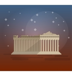 Flat design of parthenon greek vector image