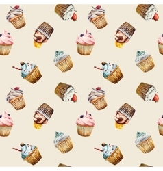 Watercolor cupcake seamless pattern vector image
