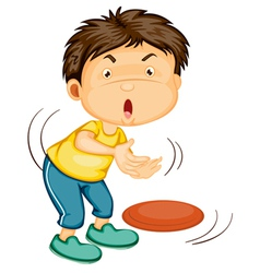 a boy playing disc vector image