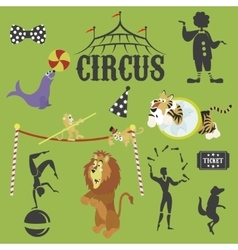 Circus performance decorative icons set with vector