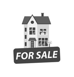 for sale sign with house in flat style vector image