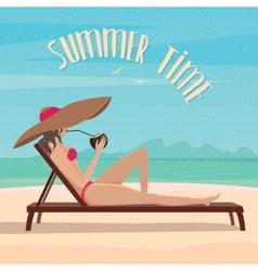 Girl lies on a beach near the sea vector image vector image
