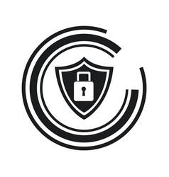 security technology padlock shield internet line vector image vector image