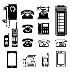 telephone icons set vector image vector image