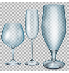 Transparent blue empty glass goblets vector image vector image