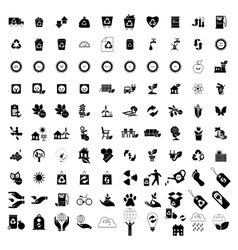 100 Eco icons set vector image