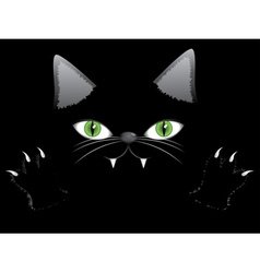 Black cat face with paw vector image vector image