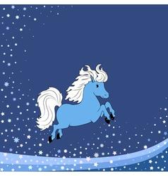 blue little horse vector image