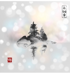 Island with three pine trees in fog vector