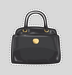 ladies handbag with handle and clips isolated vector image