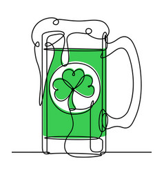 saint patrick day beer continuous line vector image vector image