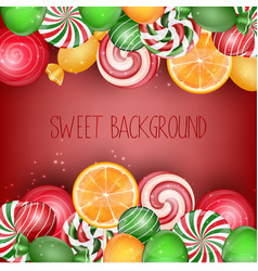 sweets background with orange slice vector image