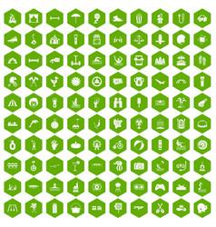 100 summer vacation icons hexagon green vector image