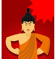 Angry Buddha in pop art style Indian god wrathful vector