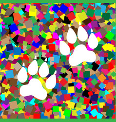 Animal tracks sign white icon on colorful vector