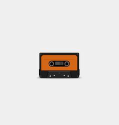 Audio tape front orange color vector