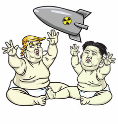 baby trump playing with kim jong un cartoon vector image