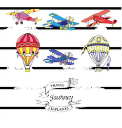 Background with airplanes and hot air balloons vector