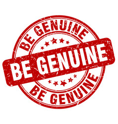 Be genuine red grunge stamp vector