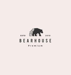 bear house logo hipster retro vintage icon vector image