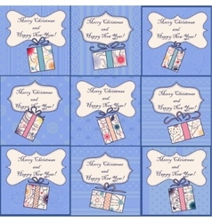 Big set of mini christmas cards vector image