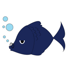 blue fish with glasses on white background vector image