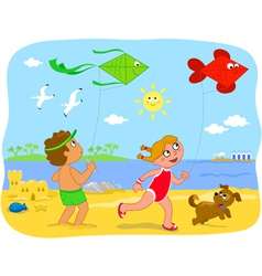 Boy and girl playing with kites at beach vector
