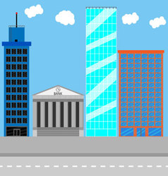 Business district set vector