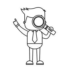 Businessman funny with magnifying glass character vector