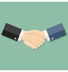 Businessmen handshakeon green background vector image