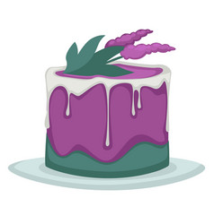 Cake wedding or birthday flower decor bakery or vector