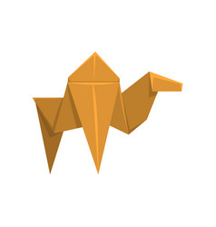 Camel origami paper animal on vector
