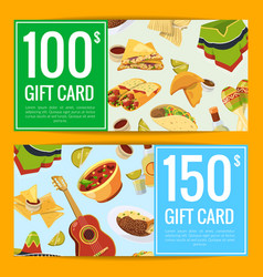 cartoon mexican food discount or gift vector image