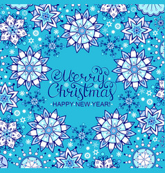 christmas card with blue snowflakes vector image