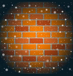 Christmas snow and red brick wall vector