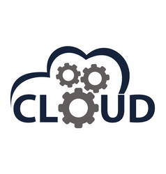 cloud solution logo design template vector image