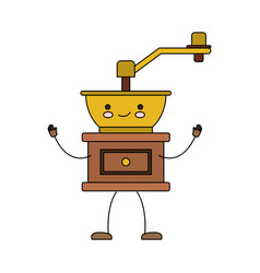 Coffee grinding with crank in front view cartoon vector