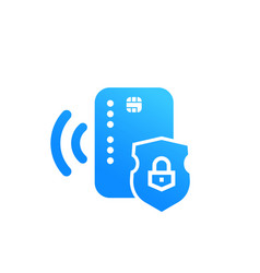 Contactless credit card secure payment icon vector
