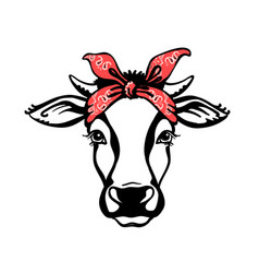 cow head with red bandana black graphic vector image
