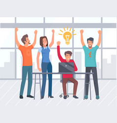 coworkers having idea for businessman team company vector image